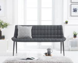Horacio Grey Faux Leather Bench