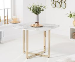 Abingdon Gold Leg - White Marble Dining Table