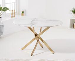 Nebraska 120cm Round White Dining Table