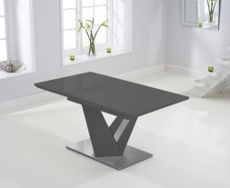 Haven 160cm Extending Dark Grey High Gloss Dining Table