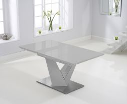Haven 160cm Extending Light Grey High Gloss Dining Table