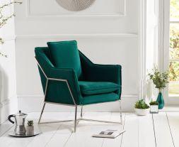 Larna Green Velvet Accent Chair with Chrome Legs
