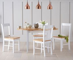 Alaska Oak & White Dining Set