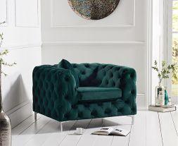 Alegra Green Plush Chair