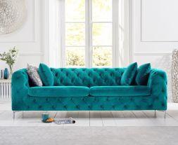 Alegra Teal Plush 3 Seater Sofa