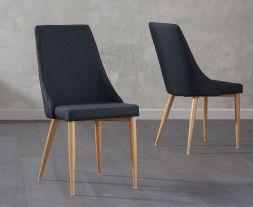 Alma Black Fabric Dining Chairs (Pair)