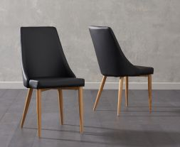 Alma Black Faux Leather Dining Chairs (Pair)