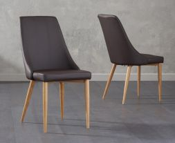 Alma Brown Faux Leather Dining Chairs (Pair)