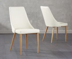 Alma Cream Faux Leather Dining Chairs (Pair)