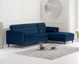 Anneliese Blue Velvet Right Facing Chaise Sofa