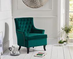 Barney Green Velvet Accent Chair