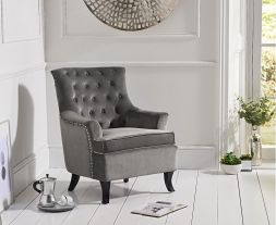 Barney Grey Velvet Accent Chair