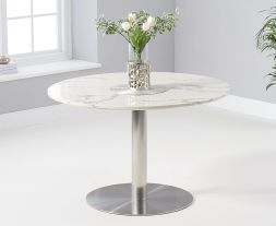 Battista 120cm Round White Dining Table