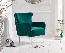 Bina Green Velvet Accent Chair