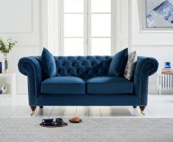 Camara Chesterfield Blue Velvet 2 Seater Sofa