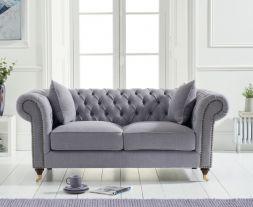 Camara Chesterfield Grey Linen 2 Seater Sofa