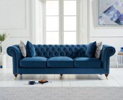 Camara Chesterfield Blue Velvet 3 Seater Sofa
