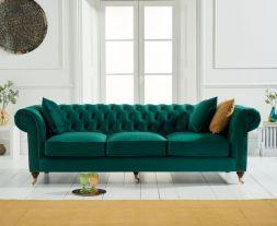 Camara Chesterfield Green Velvet 3 Seater Sofa