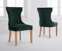 Courtney Green Velvet Dining Chairs (Pairs)