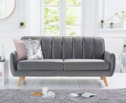 Caren Grey Velvet 3 Seater Sofa