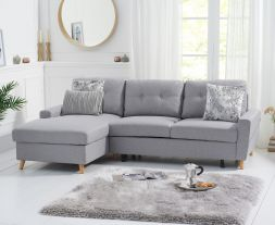 Carlotta Grey Linen Left Hand Facing Chaise Sofa Bed