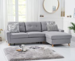 Carlotta Grey Linen Right Hand Facing Chaise Sofa Bed
