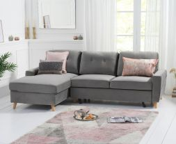 Carlotta Grey Velvet Left Hand Facing Chaise Sofa Bed