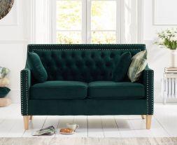 Casa Bella Green Plush Fabric 2 Seater Sofa