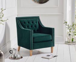 Casa Bella Green Plush Fabric Chair