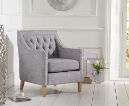 Casa Bella Grey Plush Fabric Chair