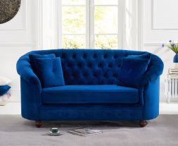 Casey Chesterfield Blue Plush Fabric 2 Seater Sofa