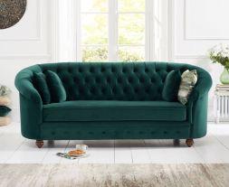 Casey Chesterfield Green Plush Fabric 3 Seater Sofa
