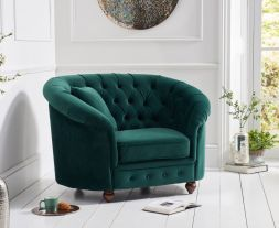 Casey Chesterfield Green Plush Fabric Chair