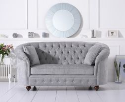 Casey Chesterfield Grey Plush Fabric Two Seater Sofa