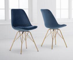 Calabasus Blue Velvet Gold Leg Dining Chairs (Pairs)