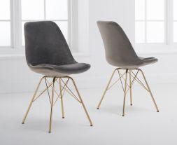 Calabasus Grey Velvet Gold Leg Dining Chairs (Pairs)