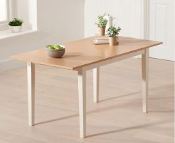 Chichester Solid Hardwood & Painted 120cm Extending Dining Table (Oak & Cream)