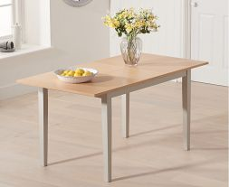Chichester Solid Hardwood & Painted 120cm Extending Dining Table (Oak & Grey)