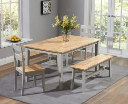 Chichester 150cm Oak & Grey Dt + 2 Chairs + 2 Large Benches