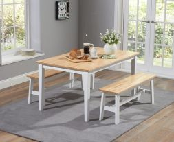 Chichester 150cm Oak & White Dining Table With 2 Large Benches