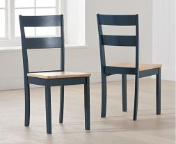 Chichester Solid Hardwood & Painted Dining Chairs (Pairs) - Oak & Blue