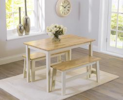 Chichester 115cm Oak And Cream Dining Set With 2 Benches