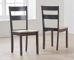 Chichester Solid Hardwood & Painted Dining Chairs (Pairs) - Oak & Dark Grey