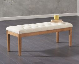 Courtney 120cm Beige Fabric Bench