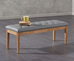 Courtney 120cm Grey Faux Leather Bench