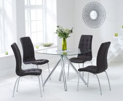 Elba 100cm Glass Dt With 4 Brown California Chairs