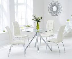 Elba 100cm Glass Dt With 4 Cream California Chairs