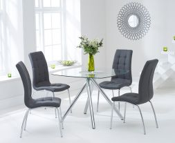 Elba 100cm Glass Dt With 4 Charcoal Grey California Chairs
