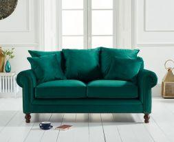 Ellie Green Plush Fabric 2 Seater Sofa