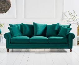 Ellie Green Plush Fabric 3 Seater Sofa